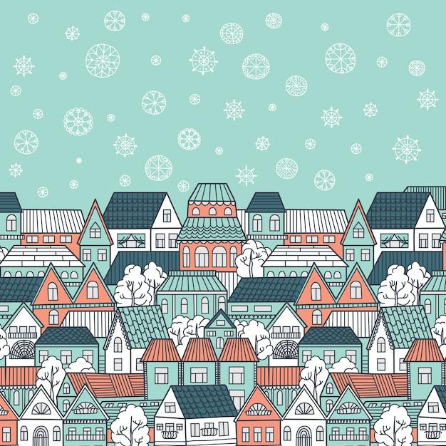 Winterillustration mit häusern, fallenden schneeflocken und platz für ihren text Premium Vektoren