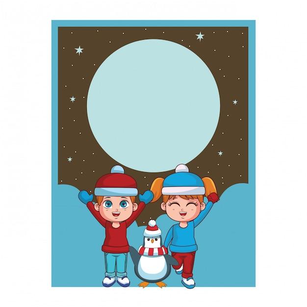 Winterjunge und -mädchen mit pinguinkarte Premium Vektoren