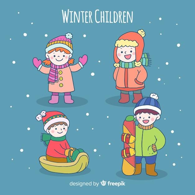 Winterkinderzeichen eingestellt Kostenlosen Vektoren