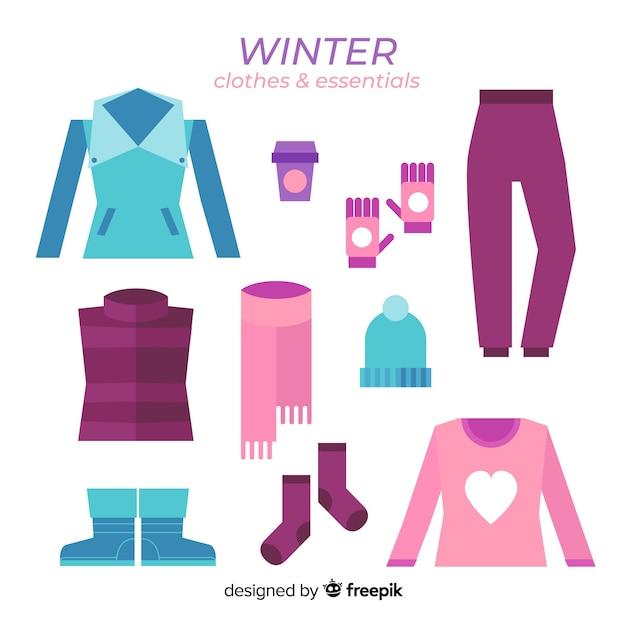 Winterkleidung & essentials Kostenlosen Vektoren