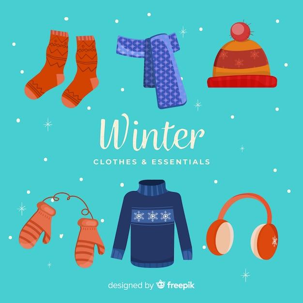 Winterkleidung und essentials Kostenlosen Vektoren