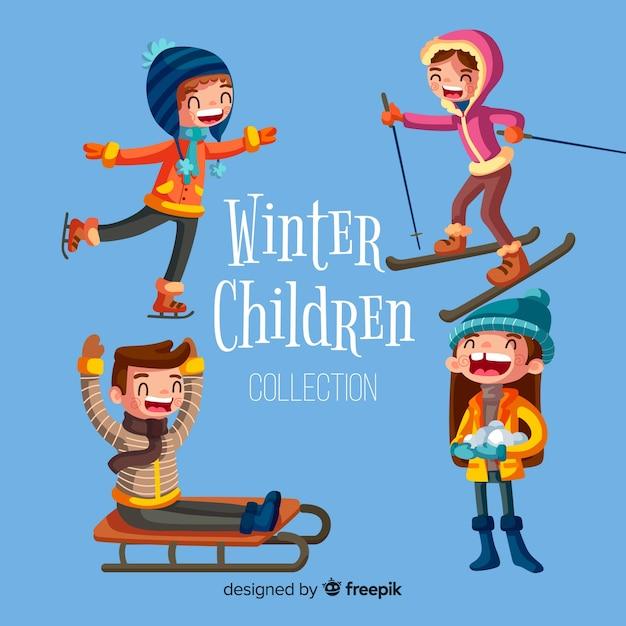 Winterkollektion für kinder Kostenlosen Vektoren