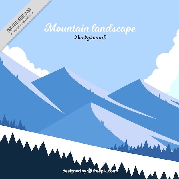 Winterlandschaft mit bergen und schnee Kostenlosen Vektoren
