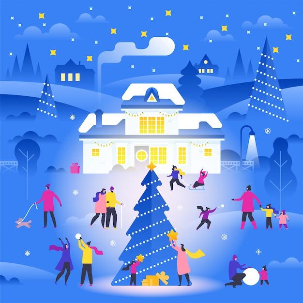 Winterlandschaft mit den leuten, die auf vorstadtstraße gehen und tätigkeiten im freien durchführen Premium Vektoren