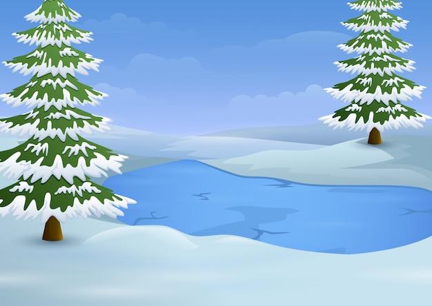 Winterlandschaft mit gefrorenen see- und tannenbäumen Premium Vektoren
