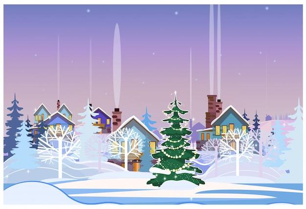 Winterlandschaft mit häuschen und verziertem tannenbaum Kostenlosen Vektoren