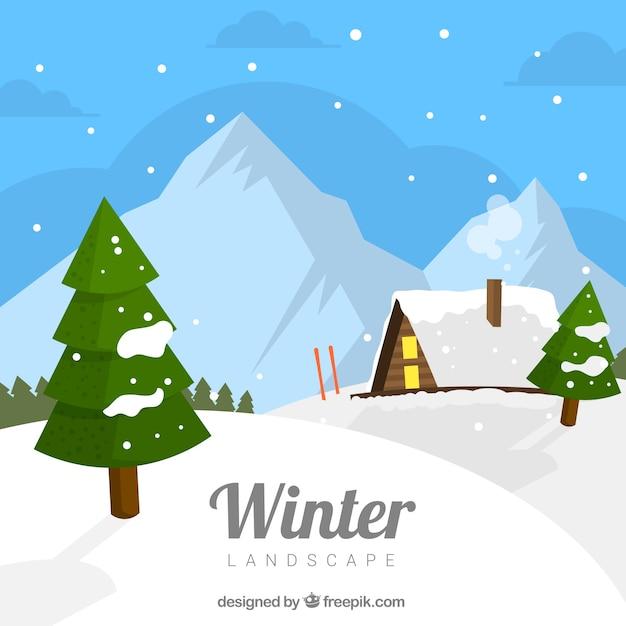 Winterlandschaft mit holzhaus Kostenlosen Vektoren