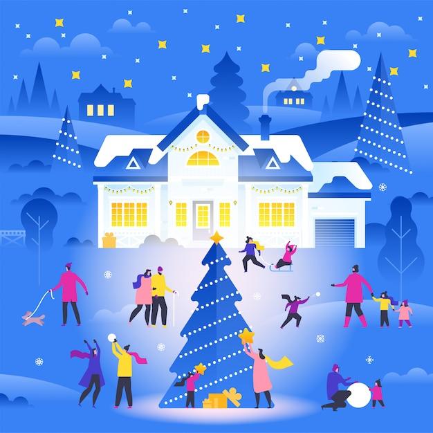 Winterlandschaft mit kleinen leuten, die auf vorstadtstraße gehen und tätigkeiten im freien durchführen. Premium Vektoren