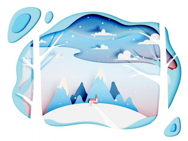 Winterlandschaft mit papierkunstart und pastellfarbschema Premium Vektoren