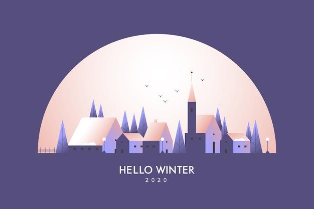 Winterlandschaft mit stadt in der nacht Kostenlosen Vektoren