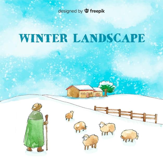 Winterlandschaft Kostenlosen Vektoren