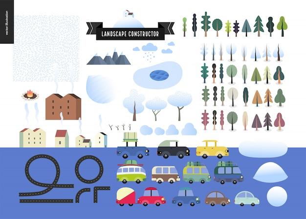 Winterlandschaftsbauer Premium Vektoren