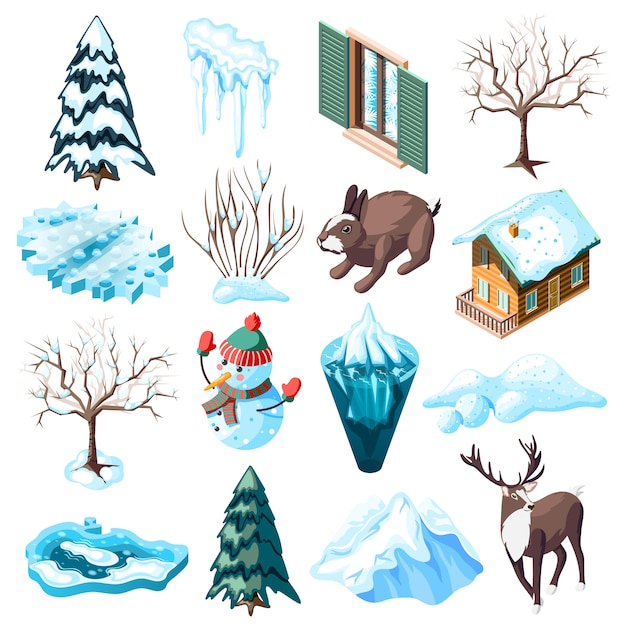 Winterlandschaftsgestaltung gesetzt von isometrischen ikonen mit tieren nackten bäumen und büschen gefrorener see isoliert Kostenlosen Vektoren