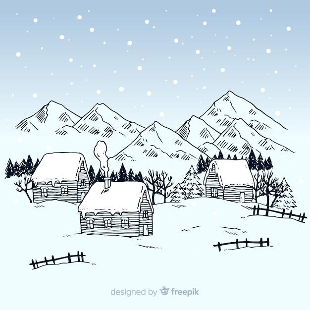 Winterlandschaftshintergrund Kostenlosen Vektoren