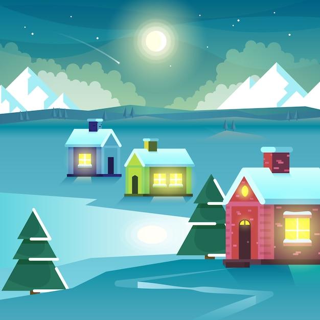 Winternacht berge und häuser. eishügelfahrt im freien, mondscheinsiedlung oder dorf, gipfel und mond. vektorillustration Kostenlosen Vektoren