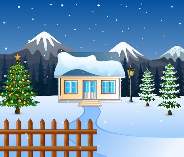 Winternacht mit weihnachtsbäumen Premium Vektoren