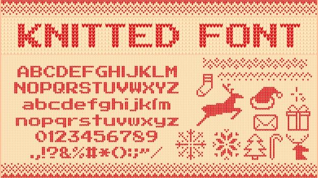 Winterpullover schriftart. gestrickte weihnachtspullover buchstaben, strickpullover weihnachtsmuster und hässliche pullover strickt illustrationsset Premium Vektoren