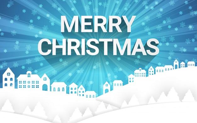 Wintersaison der frohen weihnachten mit papierkunst bringt landschaft und schneeflocke im himmel unter. Premium Vektoren