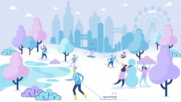 Wintersaison freizeit cartoon menschen spaß im park Premium Vektoren