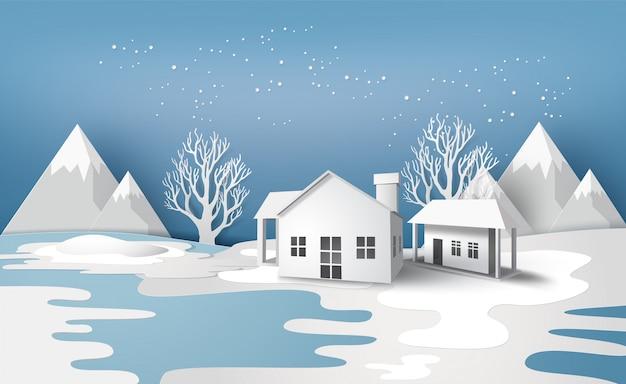 Wintersaison landschaft Premium Vektoren