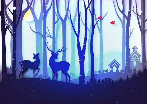 Wintersaisonlandschaft und weihnachtstagkonzept mit häuschen- und rotwildwild im wald. Premium Vektoren