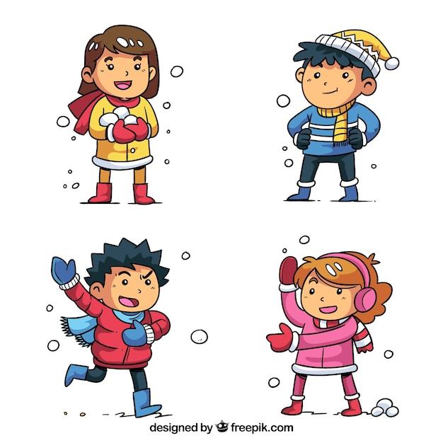 Wintersammlung von kindern, die schneebälle spielen Kostenlosen Vektoren
