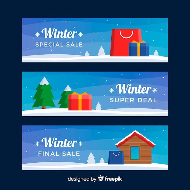 Winterschlussverkauf banner gesetzt Kostenlosen Vektoren