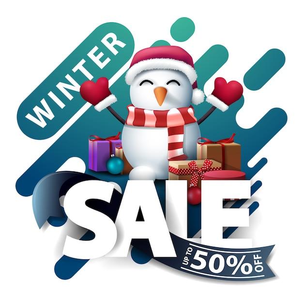 Winterschlussverkauf, bis zu 50 rabatt, rabatt pop-up für website im lavalampenstil mit großen buchstaben, blauem band und schneemann in weihnachtsmannmütze mit geschenken Premium Vektoren