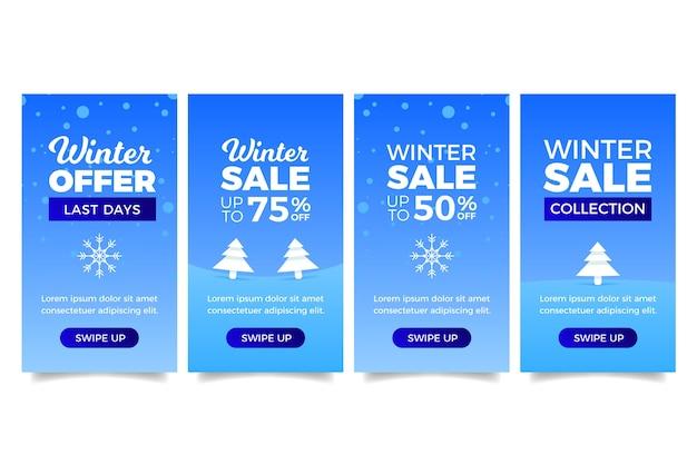 Winterschlussverkauf instagram geschichte mit weihnachtsbäumen Kostenlosen Vektoren