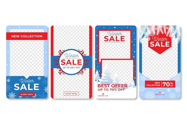 Winterschlussverkauf instagram geschichtenansammlung Kostenlosen Vektoren