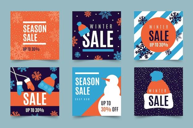 Winterschlussverkauf instagram pfostensatz Kostenlosen Vektoren