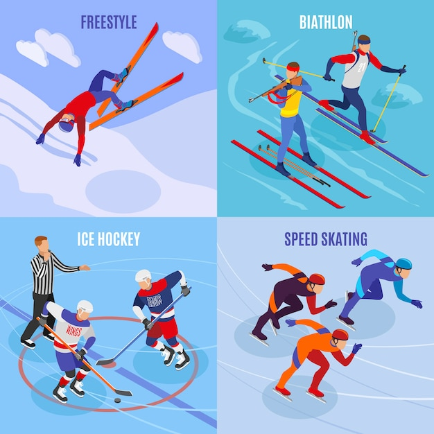 Wintersport 2x2 konzept satz freestyle eisschnelllauf eishockey biathlon quadrat symbole isometrisch Kostenlosen Vektoren