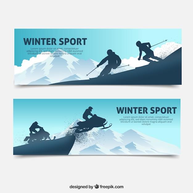 Wintersport banner mit zwei personen Kostenlosen Vektoren