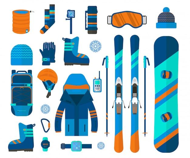 Wintersport-set-kollektion. ski- und snowboardausrüstung isoliert Premium Vektoren