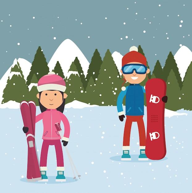 Wintersportbekleidung und zubehör Kostenlosen Vektoren
