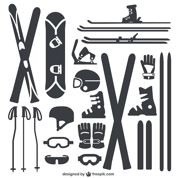 Wintersportgeräte-pack Premium Vektoren