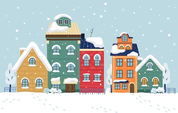 Winterstadt illustration. stadtbild mit gebäuden Premium Vektoren