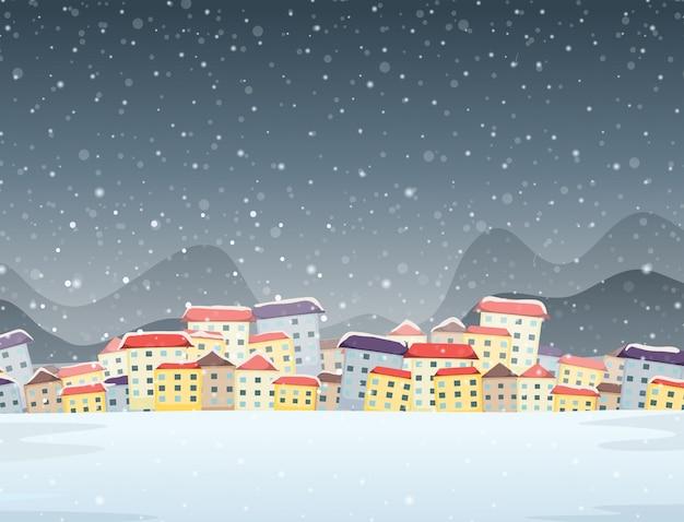 Winterstadt nacht hintergrund Kostenlosen Vektoren