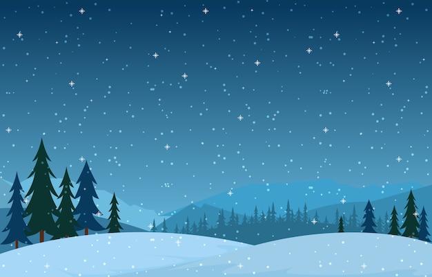 Winterszenen-schneelandschaft mit kiefer-berg Premium Vektoren