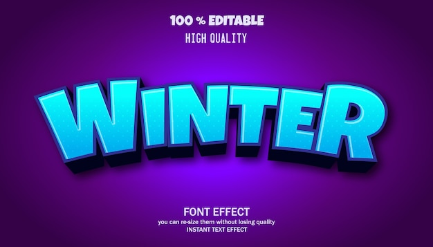 Wintertexteffekt, bearbeitbare schriftart Premium Vektoren