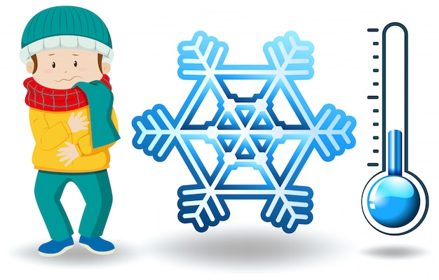 Winterthema mit mann in der winterkleidung Kostenlosen Vektoren