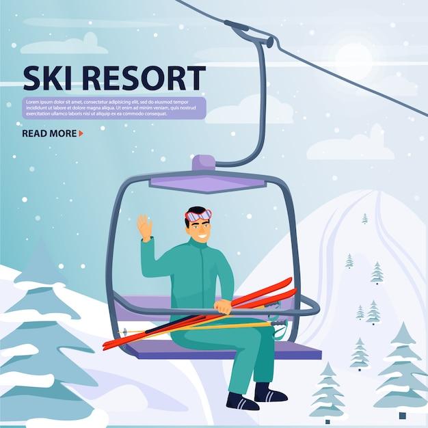 Winterurlaub aktivität. glücklicher mann aufstieg zum skilift aufzug. Premium Vektoren
