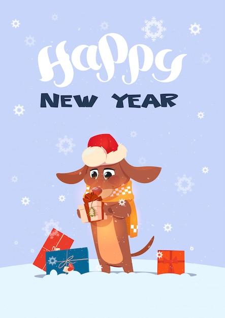 Winterurlaub-gruß-karten-hund in santa hat holding presents über schneeflocken-hintergrund Premium Vektoren