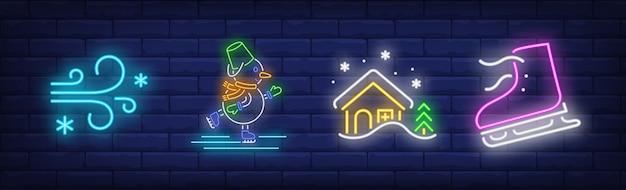 Winterurlaubssymbole im neonstil mit schlittschuhen Kostenlosen Vektoren