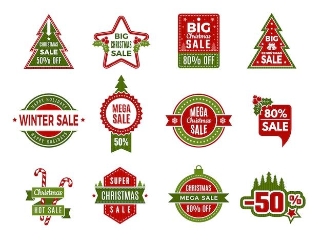 Winterurlaubsverkäufe. weihnachten abzeichen oder etiketten einzelhandel rabatt angebote urlaub sonderangebote des neuen jahres vorlage Premium Vektoren