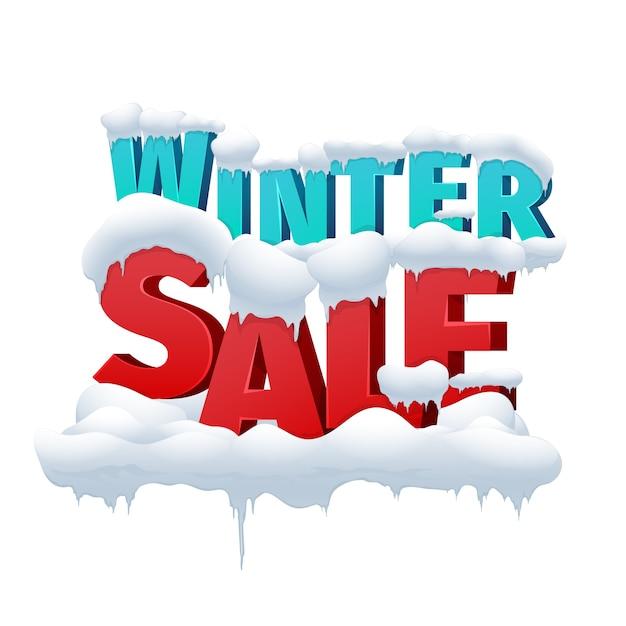 Winterverkauf 3d vektor-inschrift auf weißem hintergrund. rabatt für den einkauf im einzelhandel. winterverkauf bildunterschrift vektor-illustration Kostenlosen Vektoren