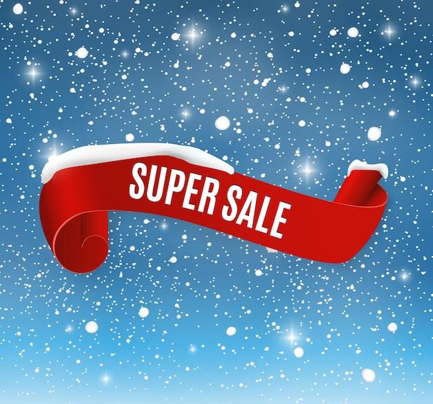 Winterverkaufshintergrund mit rotem realistischem bandbanner und schnee. Premium Vektoren
