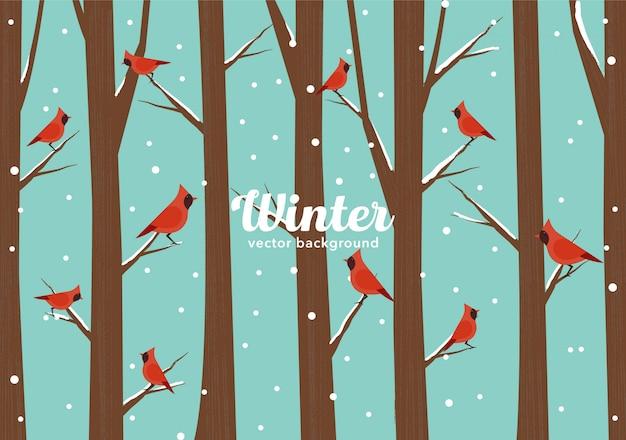 Wintervögel Premium Vektoren