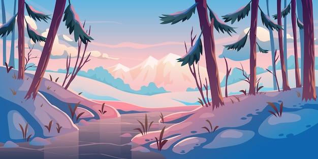 Winterwald mit gefrorenem fluss. Kostenlosen Vektoren