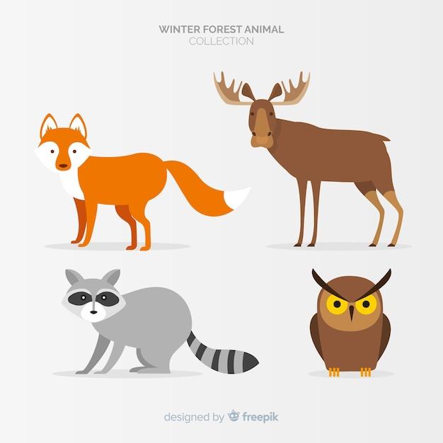 Winterwaldtiersammlung Kostenlosen Vektoren